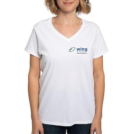 Wing Group Women's V-Neck T-Shirt (white)
