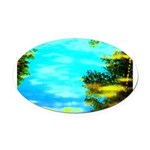Beautiful summer day Oval Car Magnet