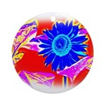 Blue Sunflower Ornament (Round)