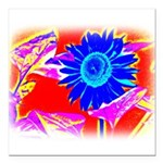 Blue Sunflower Square Car Magnet 3