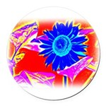 Blue Sunflower Round Car Magnet