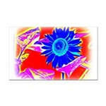 Blue Sunflower Rectangle Car Magnet