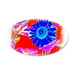 Blue Sunflower Oval Car Magnet
