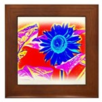 Blue Sunflower Framed Tile