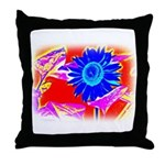 Blue Sunflower Throw Pillow
