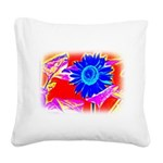Blue Sunflower Square Canvas Pillow