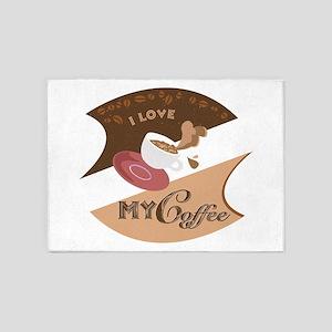 I Love My Coffee Retro 5'x7'Area Rug