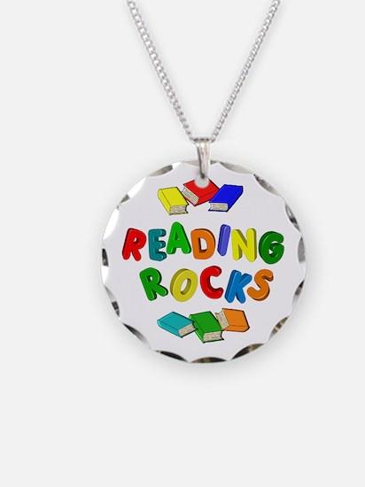 READING ROCKS Necklace Circle Charm