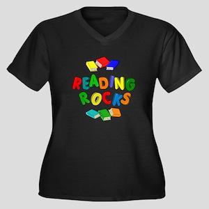 READING ROCK Women's Plus Size V-Neck Dark T-Shirt