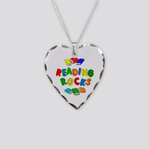 READING ROCKS Necklace Heart Charm