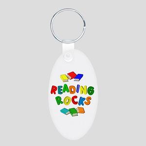 READING ROCKS Aluminum Oval Keychain