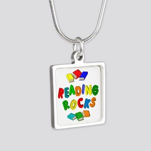 READING ROCKS Silver Square Necklace