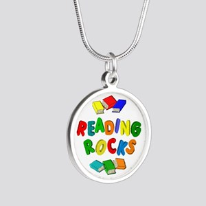 READING ROCKS Silver Round Necklace