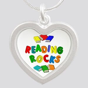 READING ROCKS Silver Heart Necklace