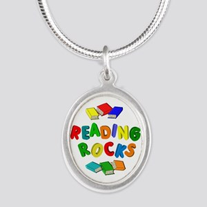 READING ROCKS Silver Oval Necklace