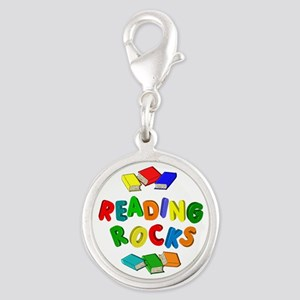 READING ROCKS Silver Round Charm