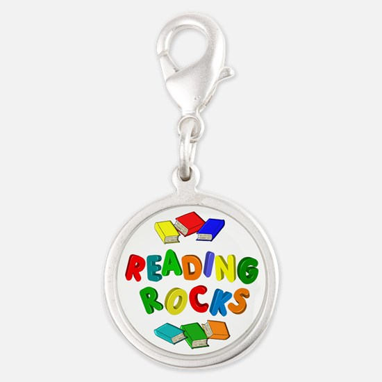 READING ROCKS Silver Round Charm