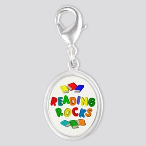 READING ROCKS Silver Oval Charm