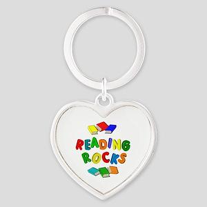 READING ROCKS Heart Keychain
