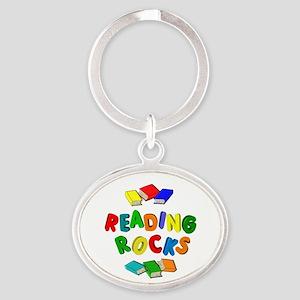 READING ROCKS Oval Keychain