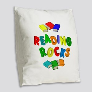 READING ROCKS Burlap Throw Pillow