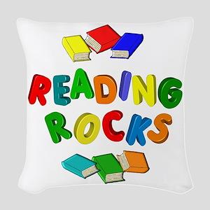 READING ROCKS Woven Throw Pillow