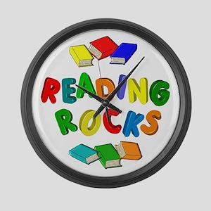 READING ROCKS Large Wall Clock