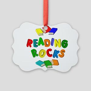 READING ROCKS Picture Ornament