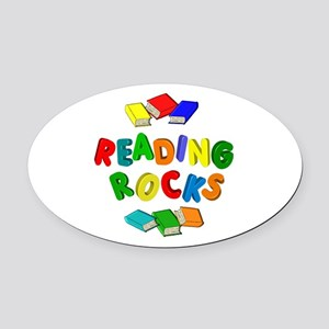 READING ROCKS Oval Car Magnet