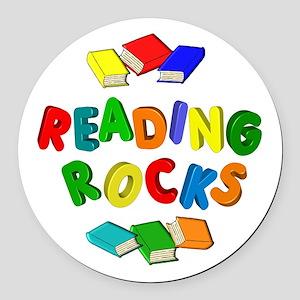 READING ROCKS Round Car Magnet