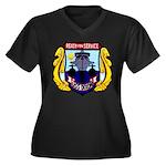 USS DIXON Women's Plus Size V-Neck Dark T-Shirt