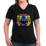 USS DIXON Women's V-Neck Dark T-Shirt