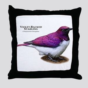 Violet-Backed Starling Throw Pillow
