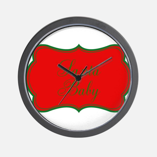 Santa Baby Red and Green Wall Clock