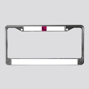 Black Heel on Pink Zebra Stripes License Plate Fra
