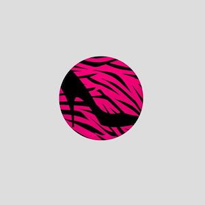 Black Heel on Pink Zebra Stripes Mini Button