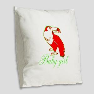 Personalizable baby Girl-Bird Burlap Throw Pillow