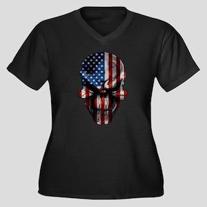 Patriotic American Flag Skull Plus Size T-Shirt