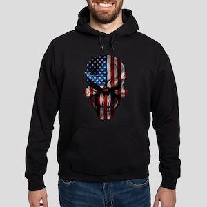 Patriotic American Flag Skull Hoodie