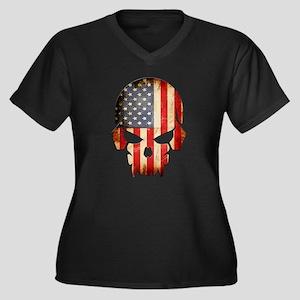 American Flag Skull Plus Size T-Shirt