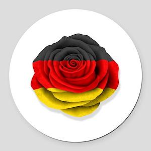 German Rose Flag on White Round Car Magnet