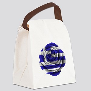 Greek Rose Flag Canvas Lunch Bag