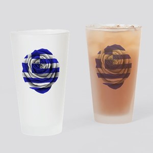 Greek Rose Flag Drinking Glass