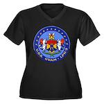 USS GUAM Women's Plus Size V-Neck Dark T-Shirt