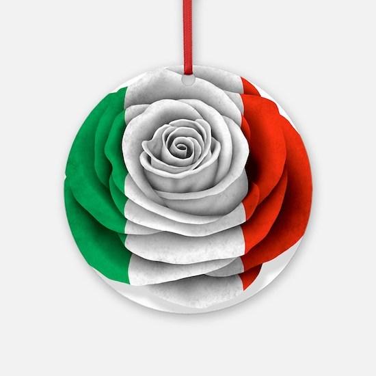 Italian Rose Flag on White Ornament (Round)