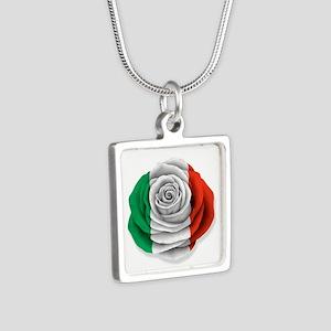 Italian Rose Flag on White Necklaces