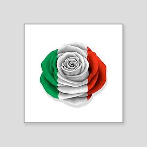 Italian Rose Flag on White Sticker