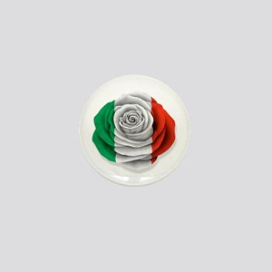 Italian Rose Flag on White Mini Button