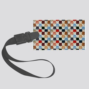 Colorful quilt pattern Large Luggage Tag