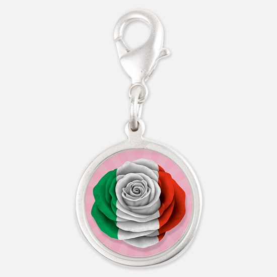 Italian Rose Flag on Pink Charms